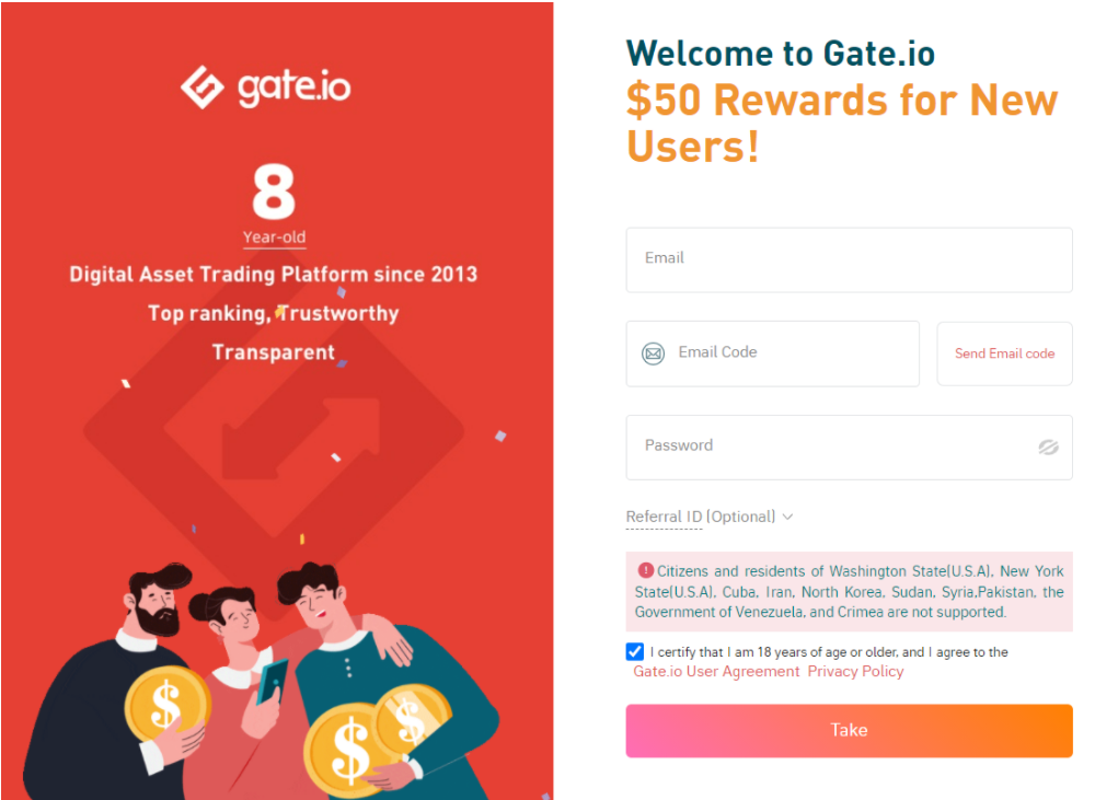 How to register on Gate.io